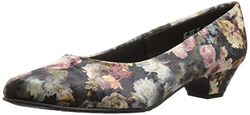 (Soft Style by Hush Puppies Women's Angel II Pump, Black Floral Printed Velvet, 9 M)