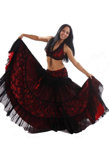Belly Dance Tribal Double Skirt, Bra & Skirt Costume Set | Pera Tribes -Darba - Extra Large (Belly Dance Costumes Large Ladies)