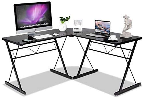 COSTWAY HW52166BK L-Shaped Corner Modern Simple Style 3-Piece Metal Frame Study Laptop Desk Writing Gaming Table Computer Workstation with Glass Top Home Office Studio, Black