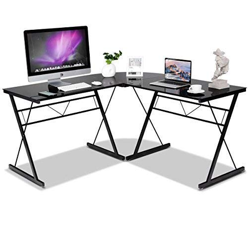 (COSTWAY HW52166BK L-Shaped Corner Modern Simple Style 3-Piece Metal Frame Study Laptop Desk Writing Gaming Table Computer Workstation with Glass Top Home Office Studio, Black)