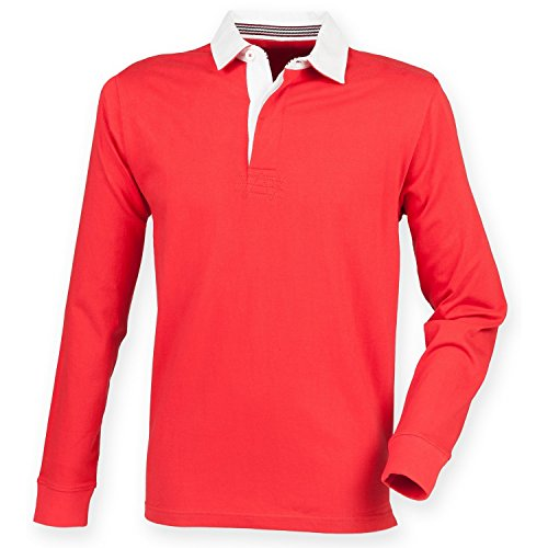 - Front Row Mens Premium Long Sleeve Rugby Shirt/Top (XL) (Red)