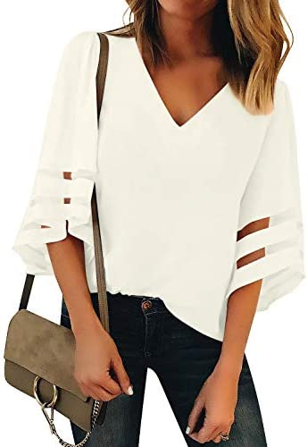 Utyful Women's Summer Casual V Neck Mesh Panel 3/4 Bell Sleeve Solid Loose Blouse Top
