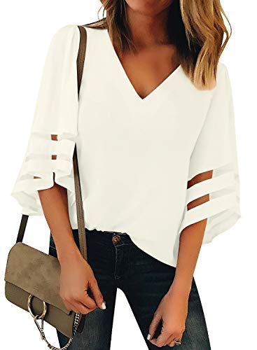 Utyful Women's Beige Casual V Neck Mesh Panel 3/4 Bell Sleeve Solid Loose Blouse Top XX-Large