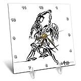 3dRose Art by Mandy Joy - Dancers - A Tribal Tattoo Style Painting of a Couple Ballroom Dancing. - 6x6 Desk Clock (dc_291495_1)