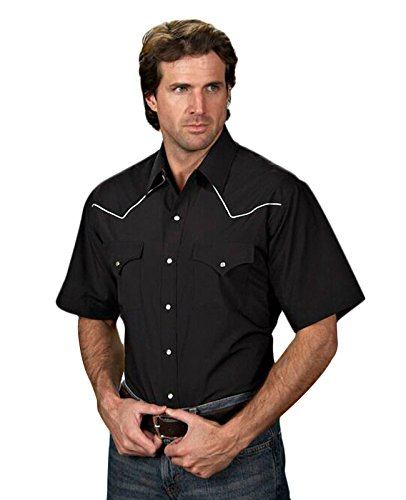 ELY CATTLEMAN Men's Short Sleeve Western Shirt Black XX-Large