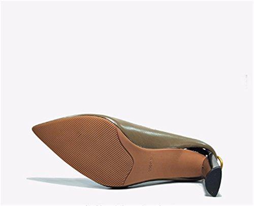Khaki Charol y Sexy las de elegante bajo versátil mujeres Altos Clásicas Altos con Tacones Ruanlei Tacones Cerrado de Tacones ElegantesLigero zapatos fashion Mujer 4CBqB
