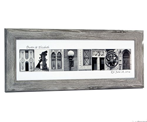 (Creative Letter Art - Personalized Framed Name Sign with Black & White Architectural Metal Alphabet Photographs including Driftwood Self Standing Frame)
