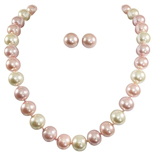 14mm Single Strand Glass Beaded Simulated Pearl Necklace Stud Earrings Set (Pink & Ivory) ()