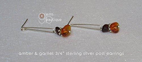 Fine Baltic Amber Earrings - GemsBeautique Baltic Amber & Garnet Drop Post 3/4