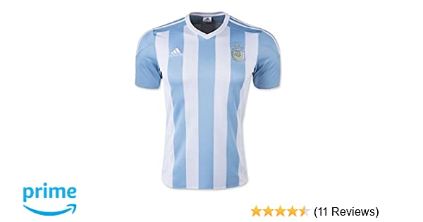 f045d49b83a Amazon.com : adidas Men's Argentina Home Soccer Jersey 15/16-White/Sky (XS)  : Clothing