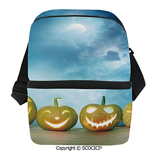 SCOCICI Collapsible Cooler Bag Spooky Halloween Pumpkins on Wood Table Dramatic Night Sky Print Decorative Insulated Soft Lunch Leakproof Cooler Bag for Camping,Picnic,BBQ