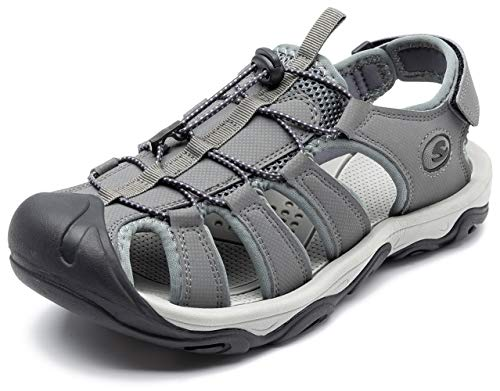 ODOUK Mens Sport Hiking Sandals Athletic Outdoor Summer Closed Toe Beach Sandals (9 US Men, Grey-a)