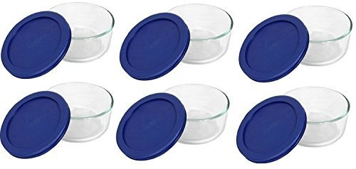Pyrex Storage 2-Cup Round Dish, Clear with Blue Lid Case of 6 Containers (Round Storage Container Lid)