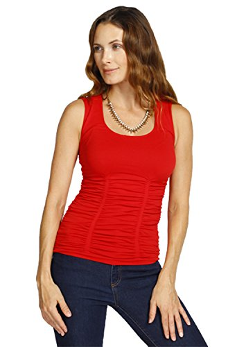 Cheap Last Tango Women's Sleeveless Scoop Neck Ruched Tank for cheap