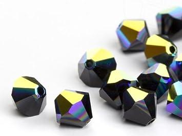 Glass Beads of Swarovski Elements Bicone 8mm (Jet-AB), 288 Pieces