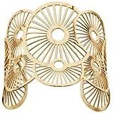 1001 Bijoux Bracelet acier manchette motif soleils PVD jaune