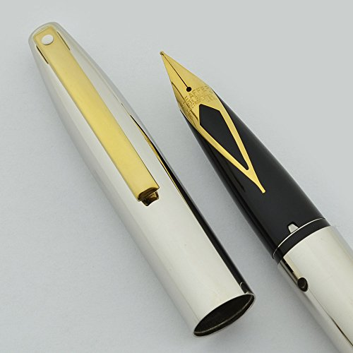 Cross Desk Pen (Cross Sheaffer Made in the USA triumph imperial Palladium Barrel with 23KT Gold Fine nib and appointments Fountain Pen Comes with Sheaffer Desk Clock A premium gift)