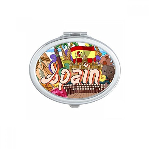 Prado Seafood Spain Graffiti Oval Compact Makeup Pocket Mirror Portable Cute Small Hand Mirrors Gift by DIYthinker