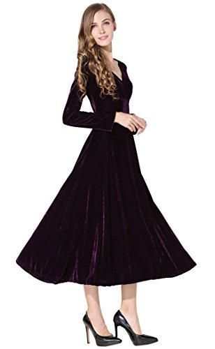 Womens Sleeve Flouced Velvet Stretchy