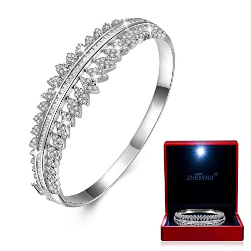 White Gold Plated Cubic Zirconia Women Bangle Bracelet For Mom Wife Birthday Christmas Gifts