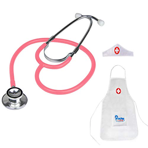 KISEER Dual Head Stethoscope, Real Working Baby Stethoscope Toy Set with Doctor Apron Cap for Kids Role Play, Pink
