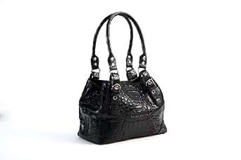 Crocodee Black Crocodile Leather SamJuji Hobo Handbag Purse