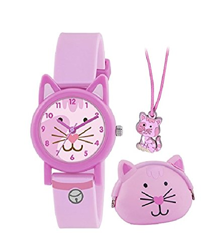 Pink Cat Watch - Tikkers Children's Quartz Watch with Pink Dial Analogue Display and Pink Silicone Strap ATK1020