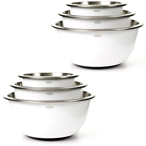 - OXO Good Grips 3-Piece Stainless-Steel Mixing Bowl Set, White (2 Pack)