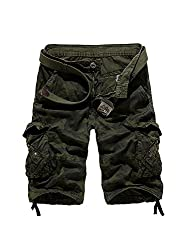 Men's Outdoor Camo Cargo Shorts Military-Style #66 Army Green Size 29 - US 28