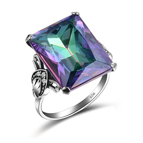 (SzjinAo Vintage Antique Design Big Square Mystic Fire Rainbow Topaz Stone Ring with 6pcs Small CZ Cubic Zirconia for Women Men Rings (Size 6))