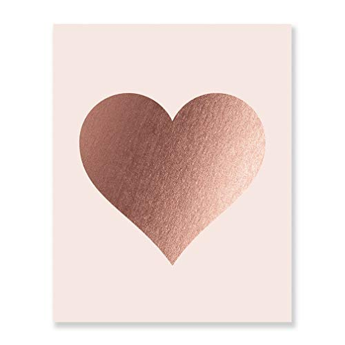 Rose Gold Foil Heart Print Blush Pink Wall Art Modern Heart Decor Love Nursery Room Poster 8 inches x 10 inches A32