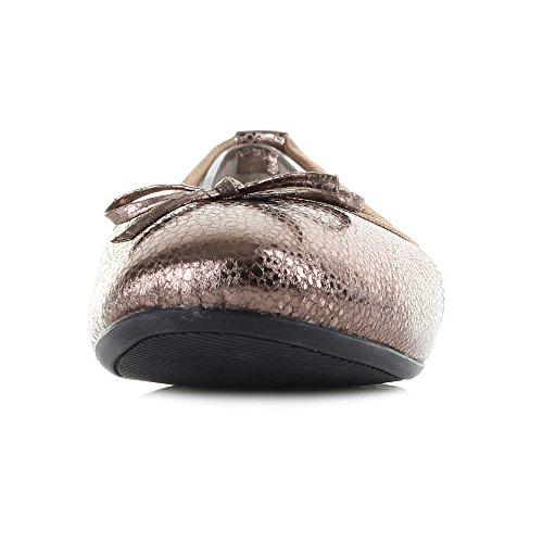 Metallic Antikk Vendinger Ballerina Penelope Gull Kvinners Sommerfugl Sko Flat gBfXqwfc