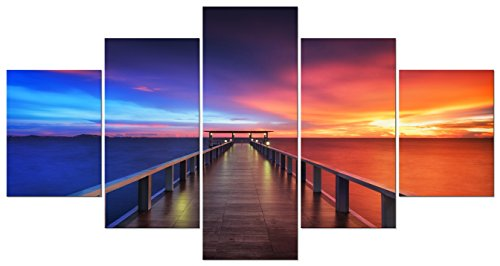 5 Piece Canvas Set (Pyradecor Sunset Bridge Large Modern 5 Piece Gallery wrapped Seascape Artwork Giclee Canvas Prints Red and Blue Landscape Pictures Paintings on Canvas Wall Art for Home Decor L)