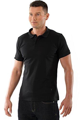 ALBERT KREUZ Herren Poloshirt Business merzerisierte Baumwolle Piqué slimfit tailliert extra lang schwarz