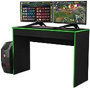 Escrivaninha Mesa Gamer XForce1- Preto/Verde - Mania de Móveis