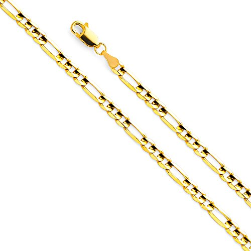 14k Yellow Gold Solid Men's 4mm Figaro Chain Necklace with Lobster Claw Clasp - 24
