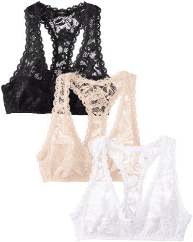Cosabella Women's Never Say Never 3 Pack Racie Racerback Soft Bra, Black/Blush/White, Medium (White Bra Black Mesh Floral)