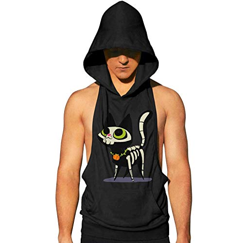 Workout Hooded Tank Tops Halloween Cat Skull Men Lightweight Muscle Sleeveless Hooded Shirt with Pocket Cool and Muscle Cut]()