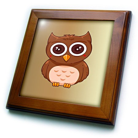 Owl Tile - 3dRose Print of Cute Cartoon Owl on Gold Gradient - Framed Tile, 8 by 8-Inch (ft_212878_1)