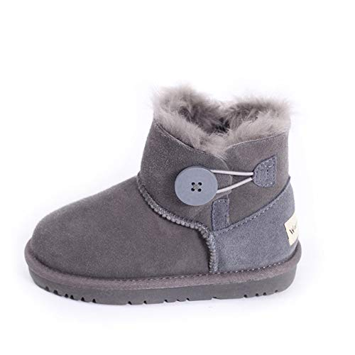 unyielding1 Girls Boys Warm Winter Flat Shoes Button Snow Boots Toddler/Little Kid(Grey1 28/9 B(M) US Toddler)