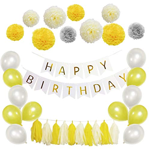 Happy Birthday Decoration Set - Banner with Paper Pom Poms Flower, Tassel Garland and Balloon for Birthday Party Decorations - 41 Pack, Yellow, Silver and -