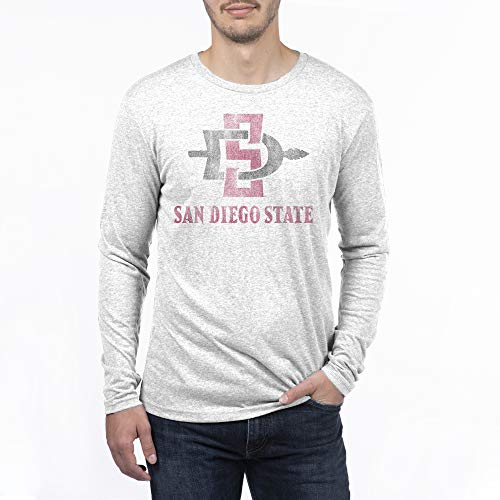 NCAA San Diego State Aztecs Men's Tri-blend Long Sleeve Team Color Distressed Mascot Arch Tee, XX-Large, Heather White (San Diego State University Colors And Mascot)