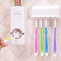 Shreenova BESQUE Plastic Hands-free Dust-Proof Wall Mounted Cover Automatic Toothpaste Dispenser and Detachable Hole 5 Toothbrush Holder (Standard Size)