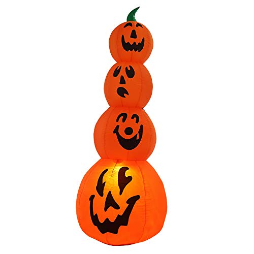 Homegear Halloween Decorations 6 Feet Inflatable Pumpkin Stack with LED Glow Light