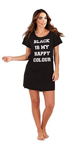 Womans Ladies Xmas Printed Slogan Night Shirt Dress Long T-Shirt Top Nightie
