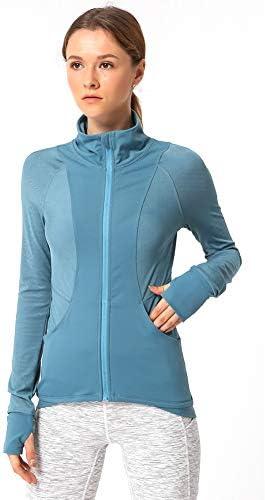 快適なスポーツ衣料を実行している女性、長袖通気フィットネスワークアウトジャケットのためのワークアウトクロップトップス,C,XL