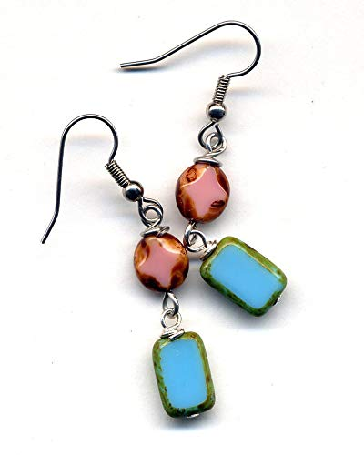 Pink and Blue Turquoise Earrings, Turquoise Pink Earrings, Long Earrings, Surgical Steel Earrings, Czech Glass Earrings, Stainless Steel Earrings, Jewelry by AnnaArt72