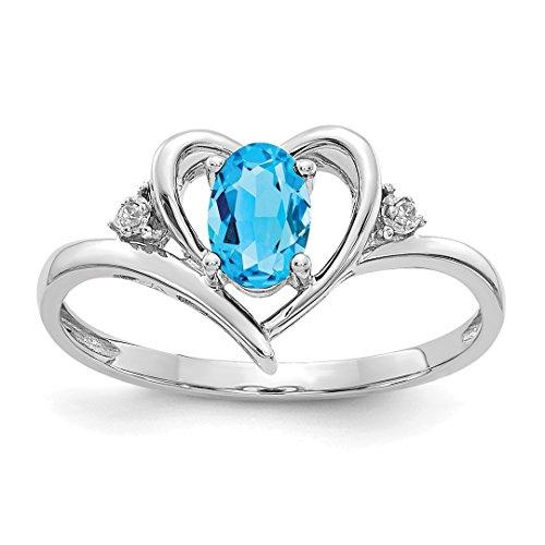Engagment Diamond Ring Set - 14k White Gold Blue Topaz Diamond Band Ring Size 7.00 Stone Birthstone December Set Style Fine Jewelry For Women Gift Set