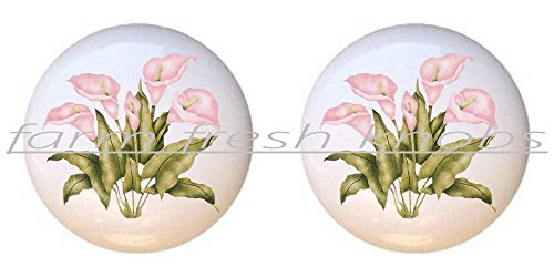 (SET OF 2 KNOBS - Pink Calla Lilies - Flowers Plants Flower Bouquet Floral - DECORATIVE Glossy CERAMIC Cupboard Cabinet PULLS Dresser Drawer KNOBS)