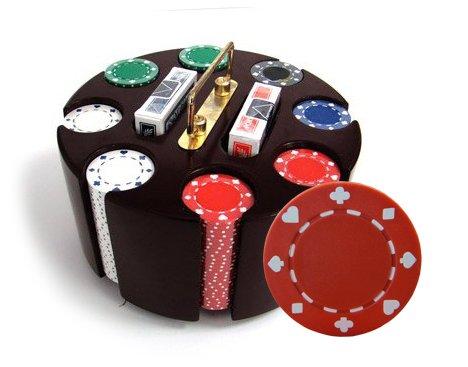 200 11.5 Gram Suited Poker Chips & Wooden Carousel ()